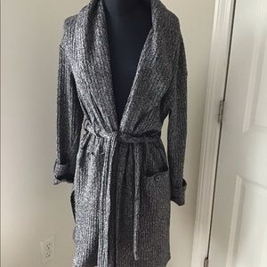 Charcoal Belted Cardigan